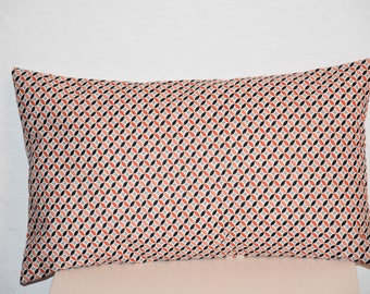 Pillow cover - 50 x 30 cm - Double sided - geometric print fabric - orange, coral, black and white