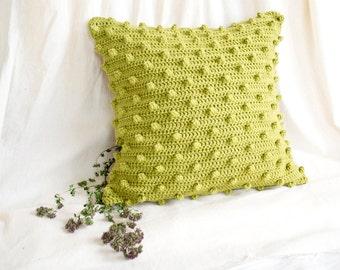 Pistachio Green Pillow Cover,16 x 16  Crochet Cotton Pillow Cover, Pistachio Green Home Decor