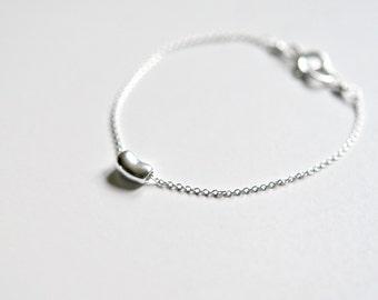Sterling silver bean bracelet, coffee bean, little bean, baby bean, jelly bean, gift for women, coffee lover, simple bracelet - Lisa mini
