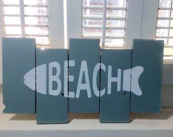 Rustic BEACH sign, cottage decor, Lakehouse decor, beach house decor, beach lovers gift,