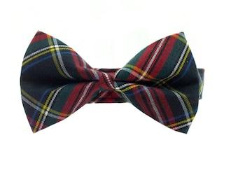 Classic Look Black Tartan/Plaid Dog Collar Bow Tie Set - Removable Bowtie