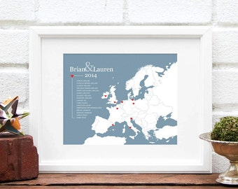 Europe Map Travels, European Map Art Print, Personalized Travel History Map, Europe Trip, Map of Europe - Print