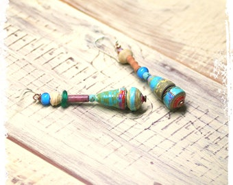 Turquoise paper bead earrings, Tribal earrings, Paper jewelry, Bohemian earrings for her, Stacked bead earrings, Gypsy earrings,