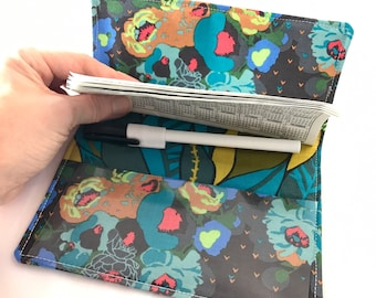 Blue Duplicate Checkbook Cover Register -  Duplicate Checkbook Reigster  Fabric Checkbook Cover - Mod Cordage Peonies Swamp