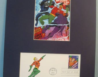 DC Comic Book Hero Aquaman and the First Day Cover of his own Stamp