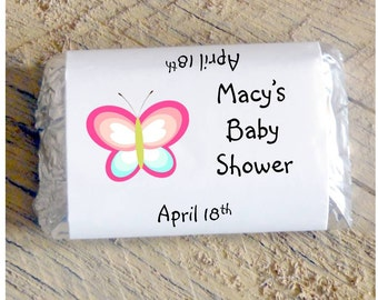 Butterfly Mini Candy Bar Wrappers for 1st 2nd 3rd 4th Birthday Party ~ Baby Shower  Favors ~ Baby Sprinkle