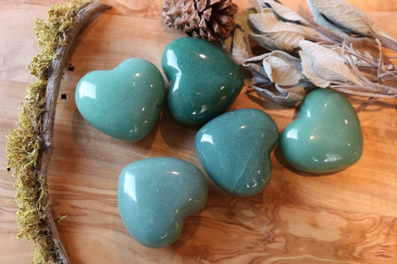 Extra Puffy Green Aventurine Heart Shaped Stones