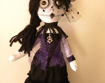 handmade gothic rag doll, collectors doll, horror dollm, OOAK doll, victorian doll, vanessa ives doll, witch doll