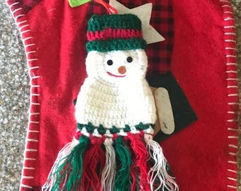 Snowman Ornament Vintage 1980's Red White Green Knitted Snowman Yarn Snowman Ornament Christmas Tree Decor Crocheted Snowman Tree Ornament