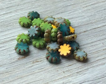 Glass Flower Beads- Cactus Flower Beads, 9mm- green, yelllow, aqua and sky blue picasso 25 pack