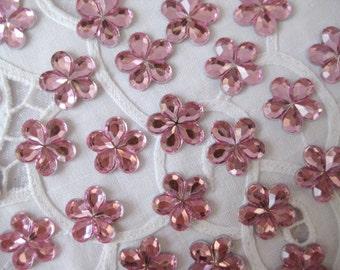 "15 mm Pink Rhinestone Acrylic Flower for Wedding, Baby Shower, Invitation Card, Crafting, Embellishments, Scrapbooking -  5/8"", 30 or 50 pcs"