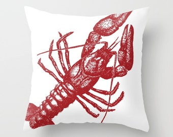 Lobster Pillow Cover - Red Lobster Throw Pillow Cover - Nautical Pillow Cover - Nautical Decor - Summer Decor - includes insert