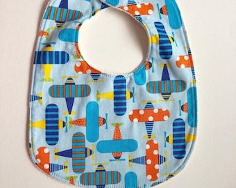 Blue and Orange Planes Baby Bib with Organic Cotton