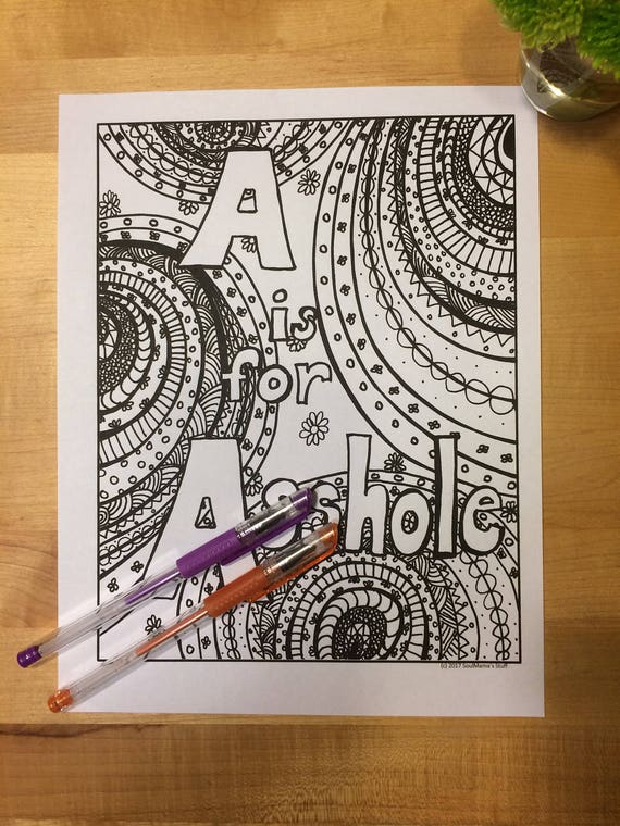 A Is For Asshole Adult Coloring Page Digital Download Swear