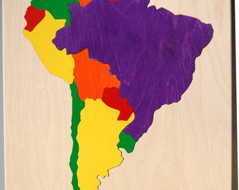 South America Wooden Map Puzzle - educational gift for kids and adults, teachers, geography students  - learn countries and capitals