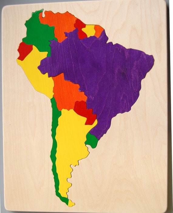 South America Wooden Map Puzzle educational gift for kids