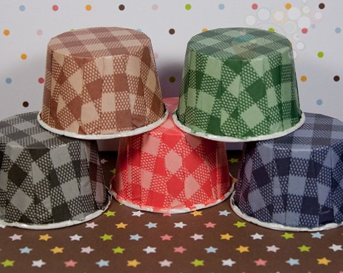 25 Assorted Gingham Baking Cups