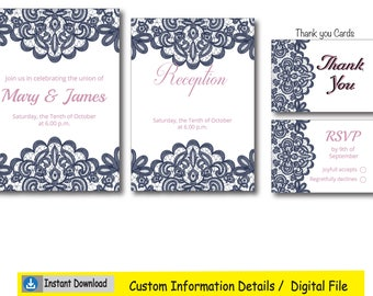 Navy and Pink Lace Wedding Invite