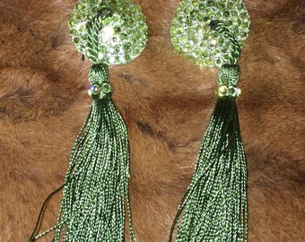 Rhinestone burlesque pasties with tassels  pasties READY TO SHIP