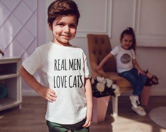 Real Men Love Cats Kids Shirts Kids Tshirt Toddler Shirt Gift For Kids Children Fashion Kid Shirt Kid T-Shirt Boys Top Girl Top Kids Clothes