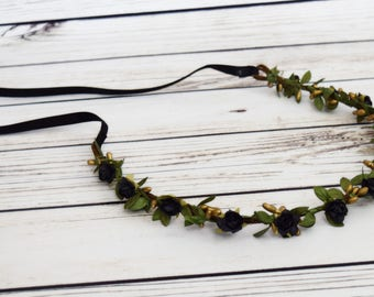 Handcrafted Black Rose Flower Crown - Ivy Flower Crown - Black and Gold Wedding - Small Adult Flower Crown - Woodland Halo -Black Bridesmaid