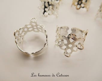 4 rings adjustable flower filigree with 4 eye / flower ring
