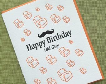 Old Guy Birthday - letterpress card