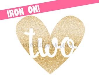 Glitter Birthday DIY Iron on T Shirt Transfer Second Birthday Baby Girl (Gold Glitter Heart Two)