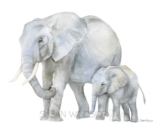 Elephants Watercolor Painting - 7 x 5 inches - Giclee Reproduction Fine Art Print - African Animals - Mother and Baby Nursery Decor