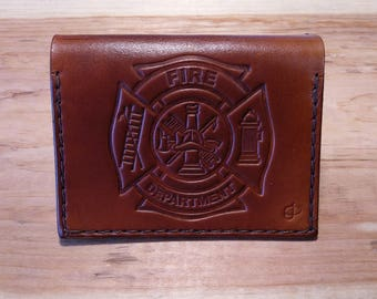 Leather Wallet with Firefighter Emblem and US Flag