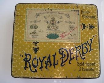 Royal Derby Gold Tipped cigarette tin (100/empty) by Ed Laurens c 1920/30