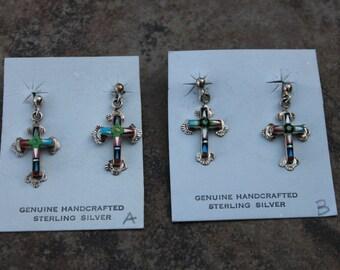 Cross Multi Stone Inlay Earrings in Sterling Silver