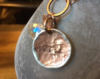 Gemstone charm necklace. Handmade hammered charm GRACE, wrapped crystal charm and petitie copper handmade heart charm.