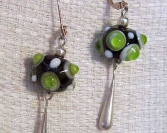 Vintage Lampwork Beads and Silver Hook Earrings - V-EAR-137 - Lampwork Earrings