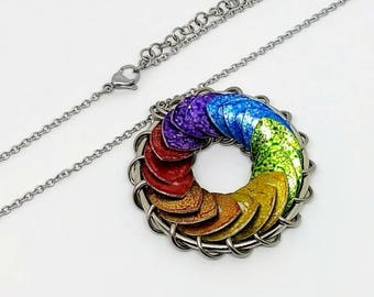 Large Rainbow Pride Pendant - LGBT Necklace - 2 inch Turbine - LGBT Jewelry - Chainmaille
