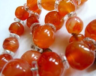 Art Deco Agate Bead Necklace, Orange Necklace, Hand-cut Beads
