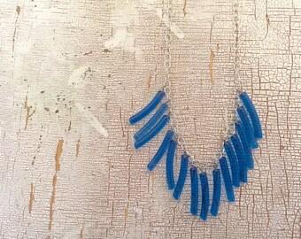 Aqua Blue Fringe Necklace - vintage lucite drop statement piece - Adjustable silver chain