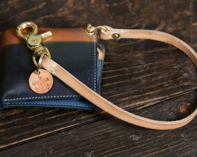 Natural Vegtan Wallet Lanyard Wallet Chain With Solid Brass Screw Shackle and Brass Scissor Snap