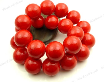 Cherry Red Round Glass Beads - 10mm - Smooth, Shiny Painted Beads - 20pcs - BL30