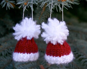 Two Santa Miniature Knit Hat Ornaments- 2 Tiny Knit Red Caps- Doll, Bears, Ornaments, Holiday Decor