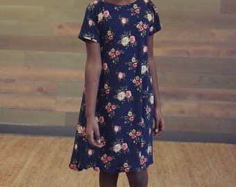 Girl's Flared Dress - Girl's Floral Dress, Vintage Floral Dress, Girl's Summer Dress