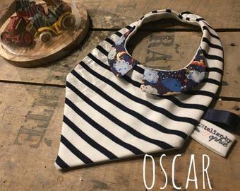 OSCAR-> bandana bib with collar PERSONALISED baby boy - list of birthstone - birthstone - liberty - essential baby gift