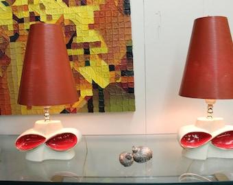 Mid Century Modern, vintage, danish, ceramic pair of lamps vinyl shades