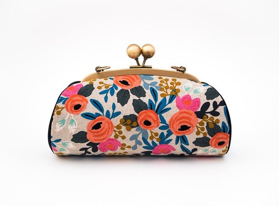 Womens Floral Clutch Bag, Bridesmaid Gift, Kiss lock Clasp Clutch Purse, Canvas Riffle Paper Co Le Fleurs, Wedding Gift,  Gifts for her