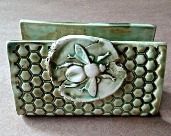 Ceramic Sponge Holder, Business Card Holder Dark Moss green Honey Bee