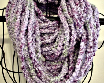 Shades of Lavender Soft Hand Crocheted Strand Scarf with Green Touches