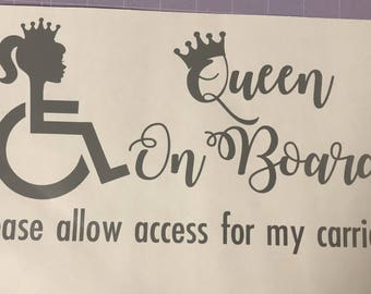 Queen On Board Wheelchair Decal
