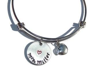 Personalized Teacher Gift;  Stainless Steel Bangle with Apple Charm; Teacher Bracelet; Custom Teacher Bangle; Teacher Appreciation Present