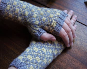 Handknit warm wool gray and yellow fingerless mitts