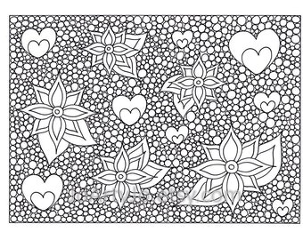 Hearts and Flowers Coloring Page PDF, Page 69, Zenangle Inspired Pattern